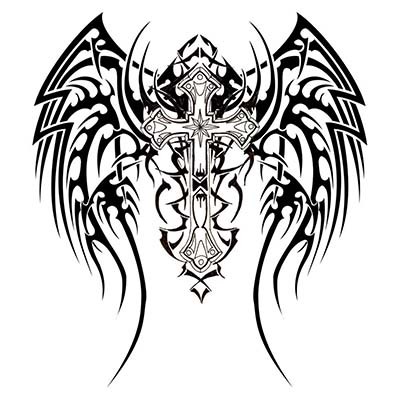 Making Christian Cross On Back designs Fake Temporary Water Transfer Tattoo Stickers NO.10295