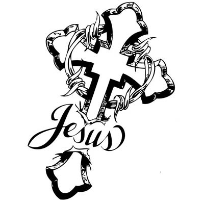 Popular Christian Tribal Cross Design Fake Temporary Water Transfer Tattoo Stickers NO.10296