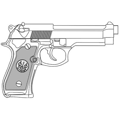 9mm Hand Gun Design Fake Temporary Water Transfer Tattoo Stickers NO.10328