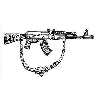 AK 47 Gun Design Fake Temporary Water Transfer Tattoo Stickers NO.10331