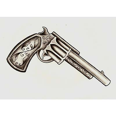 Colt 45 Gun Tattoo Design On Waist Fake Temporary Water Transfer Tattoo Stickers NO.10335