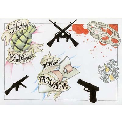 Death From Above Gun Designs Fake Temporary Water Transfer Tattoo Stickers NO.10336