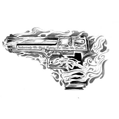 Revolvers Gun Sample designs Fake Temporary Water Transfer Tattoo Stickers NO.10340