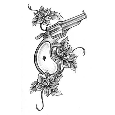 Simple Gun Design Fake Temporary Water Transfer Tattoo Stickers NO.10341