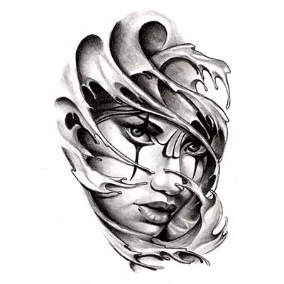 Chicano Gangsta Girl Tattoo Drawing designs Fake Temporary Water Transfer Tattoo Stickers NO.10347