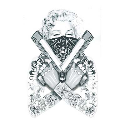 Marilyn Monroe Gangsta Sample designs Fake Temporary Water Transfer Tattoo Stickers NO.10358