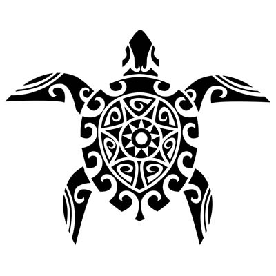 Hawaiian Turtle n Flowers Design Fake Temporary Water Transfer Tattoo Stickers NO.10380