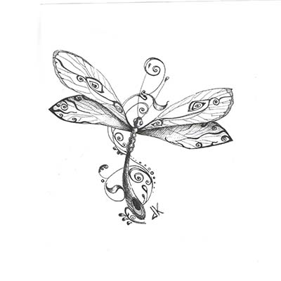 Irish Dragonfly Design Fake Temporary Water Transfer Tattoo Stickers NO.10396