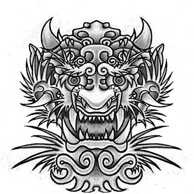 Black And Grey Japanese Dragon Face Design Fake Temporary Water Transfer Tattoo Stickers NO.10405