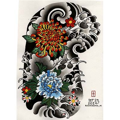Japanese designs Fake Temporary Water Transfer Tattoo Stickers NO.10403