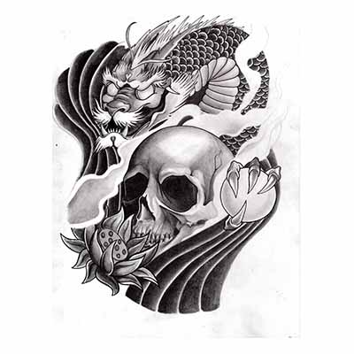 Japanese dragon n skull design Fake Temporary Water Transfer Tattoo Stickers NO.10409