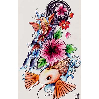Traditional Japanese designs Fake Temporary Water Transfer Tattoo Stickers NO.10412