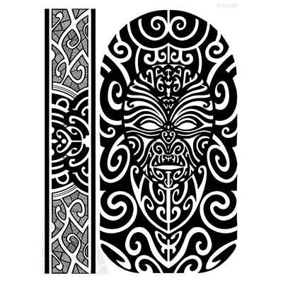 Maori designs Fake Temporary Water Transfer Tattoo Stickers NO.10428