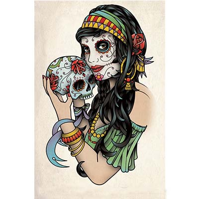 Colorful Mexican Skull Flash designs Fake Temporary Water Transfer Tattoo Stickers NO.10436