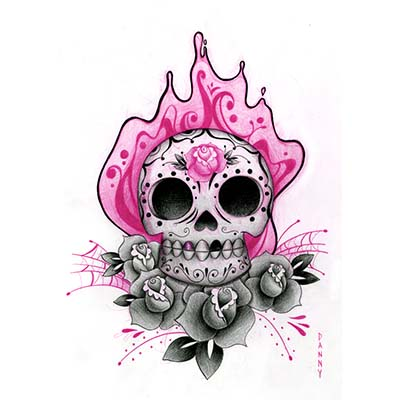 Colorful Mexican Skulls Designs Fake Temporary Water Transfer Tattoo Stickers NO.10435