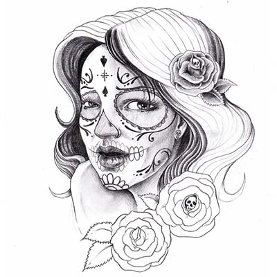 Lovely Mexican Candy Skull-Sleeve Design Fake Temporary Water Transfer Tattoo Stickers NO.10443