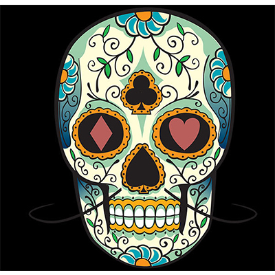 Mexican Candy Skull Over Black Background designs Fake Temporary Water Transfer Tattoo Stickers NO.10449