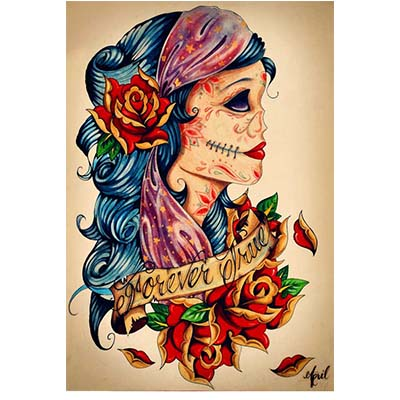 Mexican Skeleton Guitar On Foot designs Fake Temporary Water Transfer Tattoo Stickers NO.10457