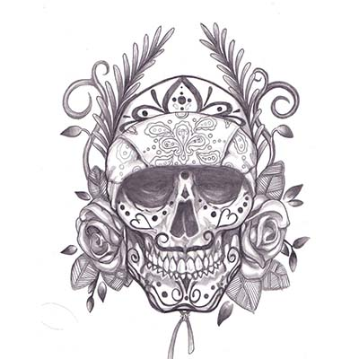 Mexican Skull Lady On Sleeve designs Fake Temporary Water Transfer ...