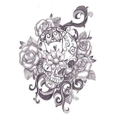 Mexican Sugar Skull And Roses Design On Lower Back Fake Temporary Water Transfer Tattoo Stickers NO.10465