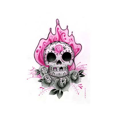 Mexican Sugar Skull Image designs Fake Temporary Water Transfer Tattoo Stickers NO.10471
