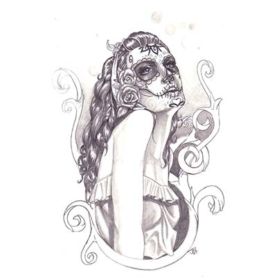 Neck Corset Mexican Sugar Skull And Roses Design Fake Temporary Water Transfer Tattoo Stickers NO.10476