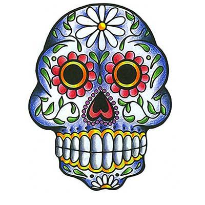 stars and colorful mexican sugar skulls designs fake temporary water