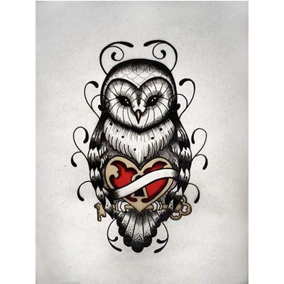 Old School Designs with Owl and Heart Fake Temporary Water Transfer Tattoo Stickers NO.10491