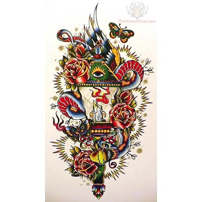 Old School designs Fake Temporary Water Transfer Tattoo Stickers NO.10550