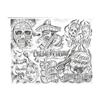Prison Chicano design art work picture this great Fake Temporary Water Transfer Tattoo Stickers NO.10568