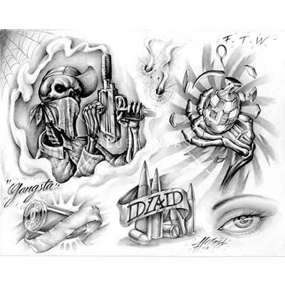 Prison Special gangsta designs designs Fake Temporary Water Transfer Tattoo Stickers NO.10573