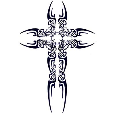 Religious Tribal art cross designs Fake Temporary Water Transfer Tattoo Stickers NO.10596