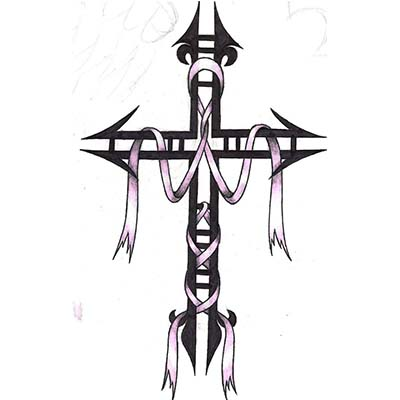Religious cross and cancer ribbon designs Fake Temporary Water Transfer Tattoo Stickers NO.10576