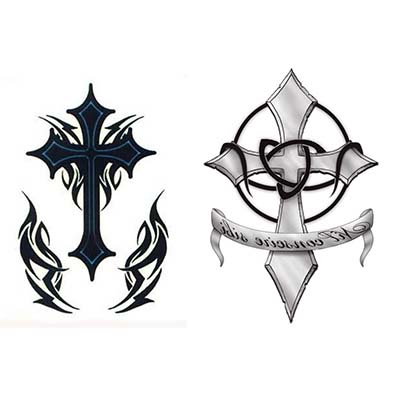 Religious cross designs Fake Temporary Water Transfer Tattoo ...