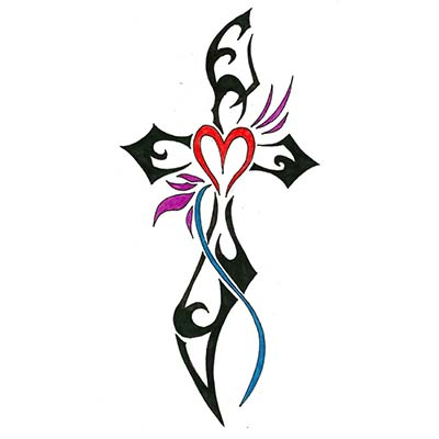 Religious cross tribal for men designs Fake Temporary Water Transfer Tattoo Stickers NO.10579