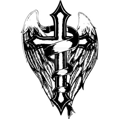 Religious crosses with wings designs Fake Temporary Water Transfer Tattoo Stickers NO.10577