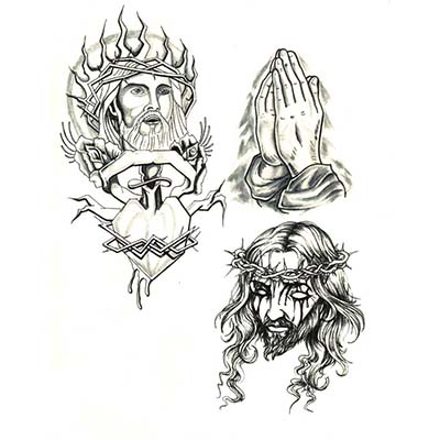 Religious designs Fake Temporary Water Transfer Tattoo Stickers NO.10589