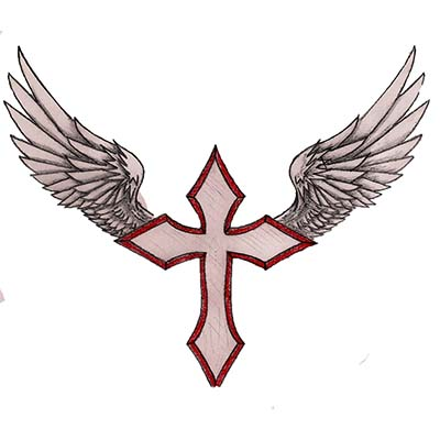 Religious with crosses and wings designs Fake Temporary Water Transfer Tattoo Stickers NO.10594