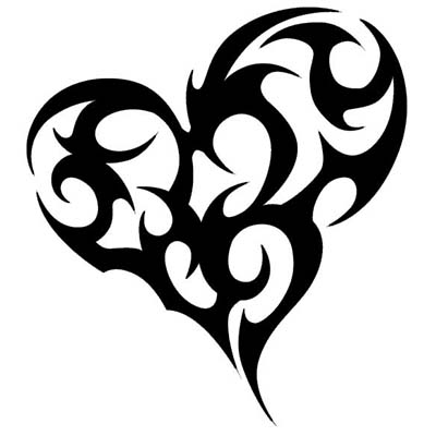 A heart shaped tribal designs Fake Temporary Water Transfer Tattoo Stickers NO.10613