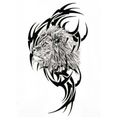 A Lion Upfront And Tribal Designs In The Back Fake Temporary Water