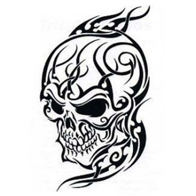 Angry looking skull tribal designs Fake Temporary Water Transfer Tattoo Stickers NO.10614