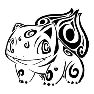 Tribal of Bulbasaur designs Fake Temporary Water Transfer Tattoo Stickers NO.10635