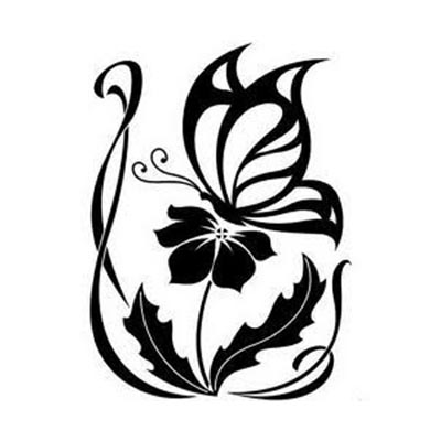 Tribal of a flower and butterfly designs Fake Temporary Water Transfer Tattoo Stickers NO.10632