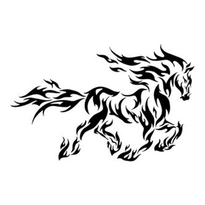 Tribal of a horse designs Fake Temporary Water Transfer Tattoo Stickers NO.10633