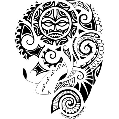 A polynesian tattoo design in maori style Fake Temporary Water Transfer Tattoo Stickers NO.10551