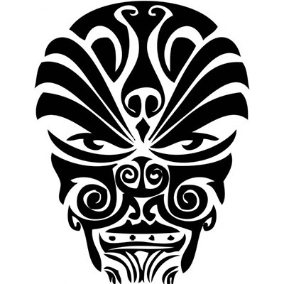 Polynesian design cool face Fake Temporary Water Transfer Tattoo Stickers NO.10556