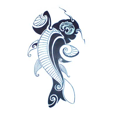 Polynesian design fish with seashells Fake Temporary Water Transfer Tattoo Stickers NO.10558
